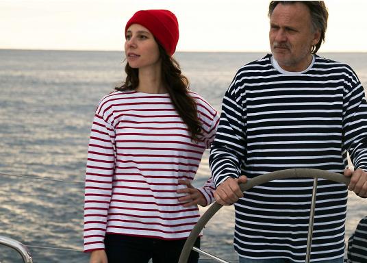 Gestreiftes Bretonisches Damen-Shirt mit Langarm und U-Boot Halsausschnitt. Mit seitlich geschlitztem Bund. Durch die elastisch gewirkte Baumwolle ist das Shirt sehr angenehm auf der Haut zu tragen. (Bild 4 von 7)