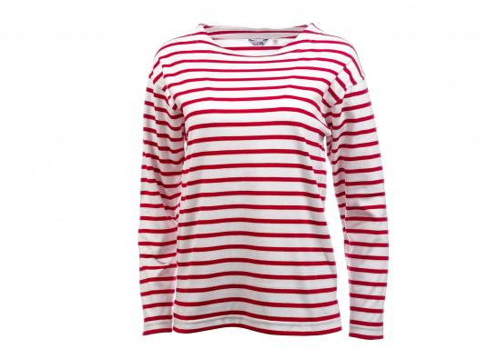 Gestreiftes Bretonisches Damen-Shirt mit Langarm und U-Boot Halsausschnitt. Mit seitlich geschlitztem Bund. Durch die elastisch gewirkte Baumwolle ist das Shirt sehr angenehm auf der Haut zu tragen.
