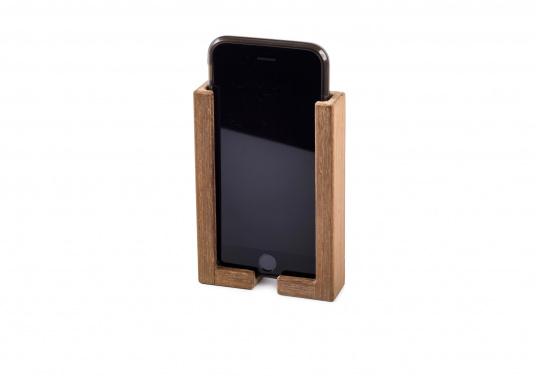 Hochwertige Smartphone Halterung aus Teak. Besteht aus zwei Teilen, und kann somit für jedes Smartphone passend montiert werden. Sichert Ihr Smartphone optimal während der Fahrt.