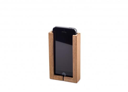 Hochwertige Smartphone Halterung aus Teak. Besteht aus zwei Teilen, und kann somit für jedes Smartphone passend montiert werden. Sichert Ihr Smartphone optimal während der Fahrt. (Bild 3 von 4)