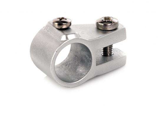 Originales Mittelstück für Ø 20 mm-Rohre. Der Klappverdeckbeschlag besteht aus silber-eloxiertem Aluminium.