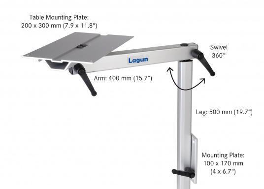Eine praktische Lösung! Diese Konstruktion bietet variable Möglichkeiten: Das Untergestell LAGUN lässt sich heben und senken und ist dreh- und schwenkbar. Es ist platzsparend und leicht zu montieren.  (Bild 2 von 4)