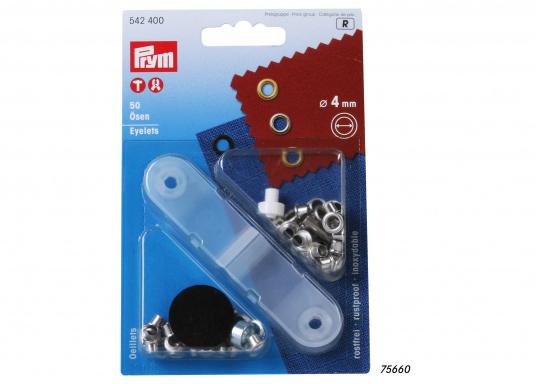 Vielseitigeinsetzbare und korrosionsbeständige Ösen. Im Lieferumfang sind 50 Ösen mit einem Durchmesser von 4 mm, eine Anleitung und entsprechendes Werkzeug enthalten.
