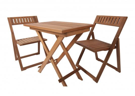 Hochwertiges Teak Möbel-Set, bestehend aus einem Klapptisch (70 x 50 cm) und zwei Klappstühlen (53 x 47 x 78 cm).