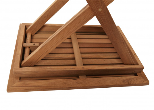 Hochwertiges Teak Möbel-Set, bestehend aus einem Klapptisch (70 x 50 cm) und zwei Klappstühlen (53 x 47 x 78 cm). (Bild 3 von 9)