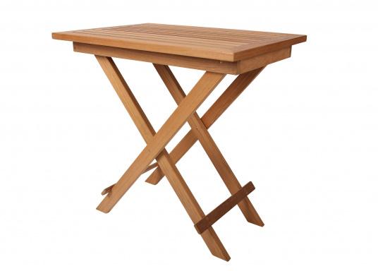 Hochwertiges Teak Möbel-Set, bestehend aus einem Klapptisch (70 x 50 cm) und zwei Klappstühlen (53 x 47 x 78 cm). (Bild 2 von 9)