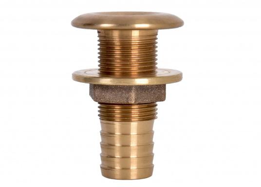 Hochwertige Borddurchführungen mit Schlauchanschluss, gefertigt aus der seewasserbeständigen BronzelegierungCB491K(Rotguss). Durch den hohen Kupfergehalt in der Legierung sind Ventile und Fittinge aus Bronze ideal für den dauerhaften Einsatz im Unterwasserbereich geeignet. (Bild 2 von 2)