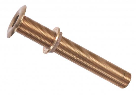 Hochwertige Borddurchführungen in extra langer Ausführung, gefertigt aus der seewasserbeständigen BronzelegierungCB491K(Rotguss). Die Länge beträgt 240 mm.