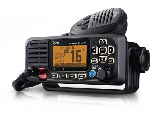 Compact VHF radio at an attractive price. This Class D device with built-in GPS receiver and DSC controller, including ATIS, offers easy and intuitive operation and a large, easy-to-read dot-matrix display. (Afbeelding 2 of 7)