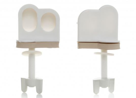 Originale Ersatzscharniere für das Vakuum-WC POPULAR von LAVAC.Die Lieferung enthält zwei Scharniere.