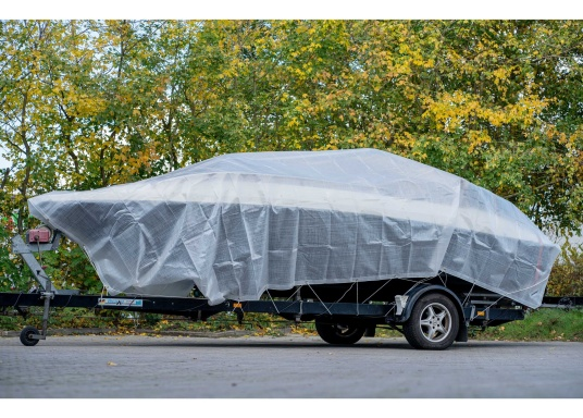 Extreme stability! Tear-resistant, waterproof, frost-resistant and UV-stabilised tarpaulin made of PE ribbon fabric for winter storage or for protecting items in the home, yard, garden, trade, industry and crafts.Material weight: 300 g/m².  (Image 2 of 4)