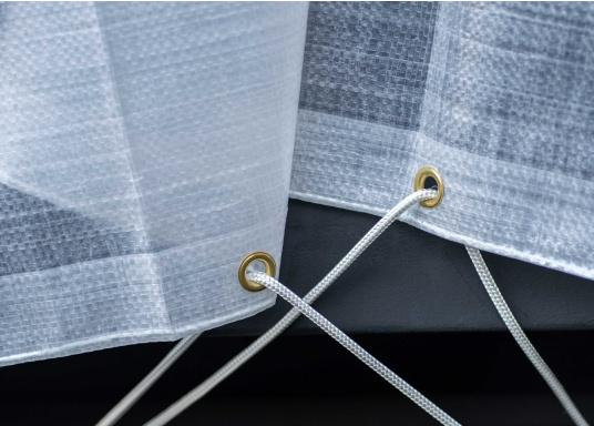 Extreme stability! Tear-resistant, waterproof, frost-resistant and UV-stabilised tarpaulin made of PE ribbon fabric for winter storage or for protecting items in the home, yard, garden, trade, industry and crafts.Material weight: 300 g/m².  (Image 3 of 4)