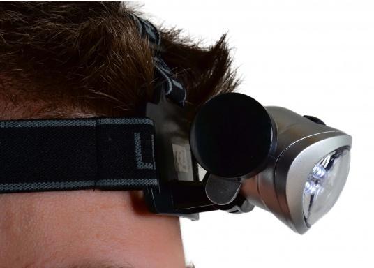 Praktischer Miniatur-Stirnscheinwerfer - so haben Sie immer beide Hände frei! Die LEDs bieten eine lange Lebensdauer von ca. 100.000 Stunden. Mit 3 Microbatterien können Sie bis zu 120 Stunden Leuchtdauer erreichen.  (Bild 6 von 6)