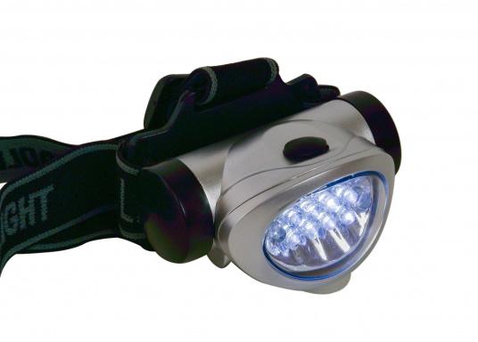 Praktischer Miniatur-Stirnscheinwerfer - so haben Sie immer beide Hände frei! Die LEDs bieten eine lange Lebensdauer von ca. 100.000 Stunden. Mit 3 Microbatterien können Sie bis zu 120 Stunden Leuchtdauer erreichen.  (Bild 2 von 6)