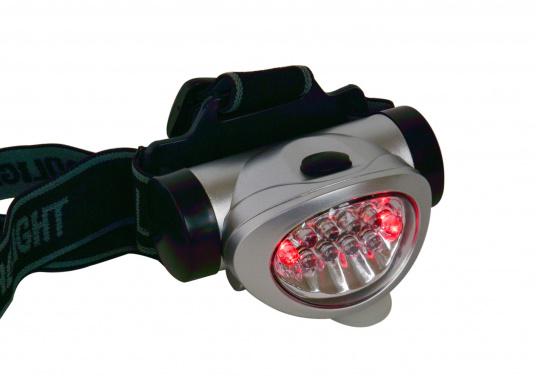 Praktischer Miniatur-Stirnscheinwerfer - so haben Sie immer beide Hände frei! Die LEDs bieten eine lange Lebensdauer von ca. 100.000 Stunden. Mit 3 Microbatterien können Sie bis zu 120 Stunden Leuchtdauer erreichen.  (Bild 3 von 6)