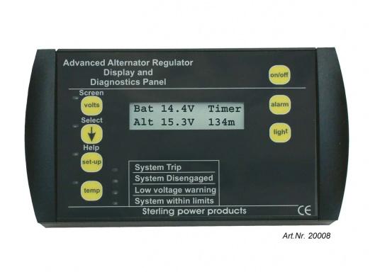 Die Fernbedienung und Anzeige für den Hochleistungsregler PRO DIGITAL zeigt alle relevanten Daten des Ladevorgangs.