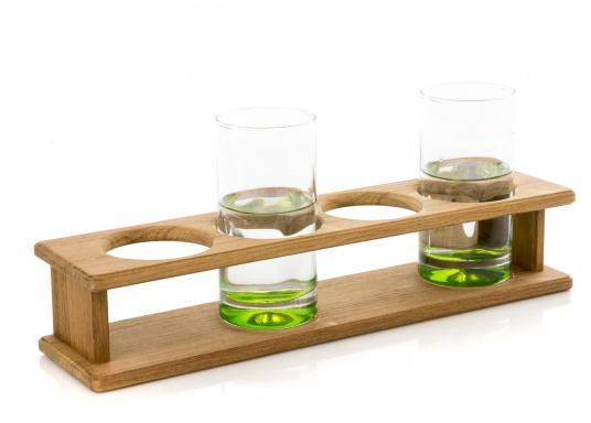 Schicker Glashalter aus hochwertigem Teakholz geeignet für 4 Gläser. DerLochdurchmesser beträgt70 mm. Länge: 390 mm.