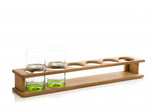 Schicker Glashalter aus hochwertigem Teakholz geeignet für 6 Gläser. DerLochdurchmesser beträgt70 mm. Länge: 610 mm.