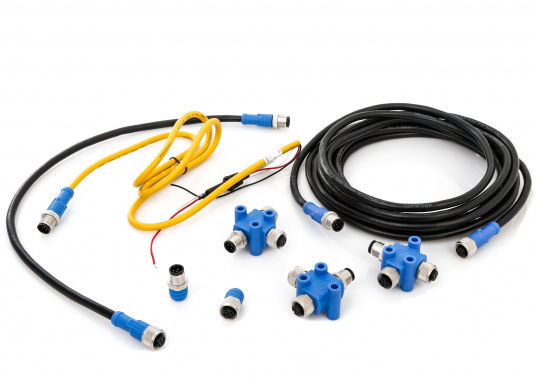 The NMEA2000 starter kit contains all the components needed to set up an NMEA2000 network.