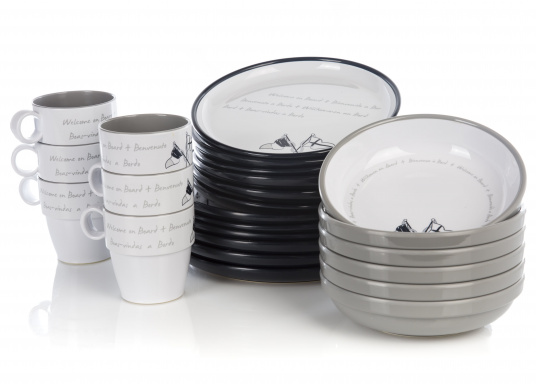 This 24-piece melamine WELCOME ON BOARD dinnerware set is perfect for six people and, thanks to the anti-slip ring on the bottom of each plate and cup, this set is ideal for use on board. The navy blue and gray colors give your cockpit table an elegant nautical design. (Image 2 of 8)