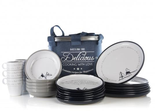 This 24-piece melamine WELCOME ON BOARD dinnerware set is perfect for six people and, thanks to the anti-slip ring on the bottom of each plate and cup, this set is ideal for use on board. The navy blue and gray colors give your cockpit table an elegant nautical design.