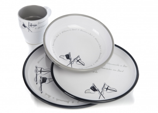This 24-piece melamine WELCOME ON BOARD dinnerware set is perfect for six people and, thanks to the anti-slip ring on the bottom of each plate and cup, this set is ideal for use on board. The navy blue and gray colors give your cockpit table an elegant nautical design. (Image 4 of 8)