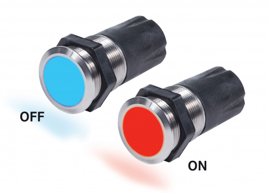 Modern ON/OFF push button and backlit switch for a wide range of applications. Turns red when activated and blue when not in use. Voltage: 12 V.