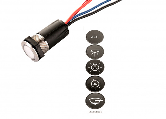 Modern ON/OFF push button and backlit switch for a wide range of applications. Turns red when activated and blue when not in use. Voltage: 12 V. (Image 7 of 7)