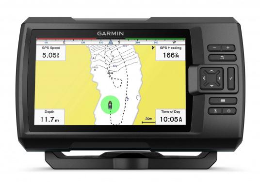 """Die neue STRIKER Plus Serie von Garmin überzeugt mit nicht zu überbietenden Aufzeichnungen und integriertem GPS. So können Sie Ihre Lieblingsspots zum Angeln oder andere Wegpunkte markieren um problemlos den Weg dorthin zurückzufinden.Der STRIKER Plus 7sv verfügt über ein wasserdichtes 7"""" Display und wird inkl. GT52HW-TM Geber geliefert. (Bild 3 von 8)"""