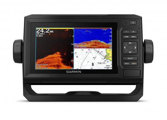 """Mit der neuen EchoMAP Plus-Serie von Garmin erhalten Sie hochauflösende Darstellungen der unmittelbaren Unterwasserwelt in Kombination mit einem Kartenplotter. Der EchoMAP Plus 62cv verfügt über ein wasserdichtes 6"""" Display und wird ohne Geber geliefert. (Bild 2 von 12)"""