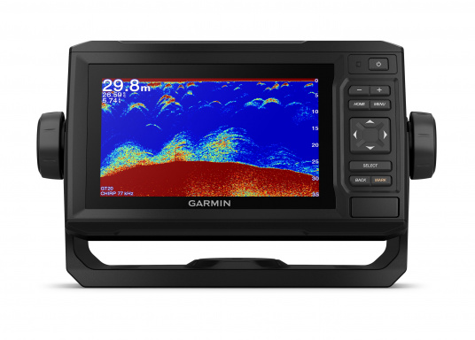 """Mit der neuen EchoMAP Plus-Serie von Garmin erhalten Sie hochauflösende Darstellungen der unmittelbaren Unterwasserwelt in Kombination mit einem Kartenplotter. Der EchoMAP Plus 62cv verfügt über ein wasserdichtes 6"""" Display und wird inkl. GT20-TM Geber geliefert. (Bild 12 von 13)"""