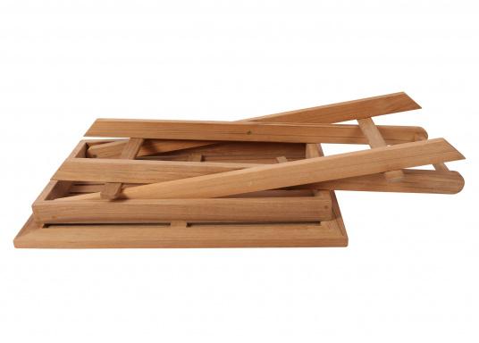 Hochwertiger Klapptisch (70 x 50 cm), gefertigt aus edlem, ungeöltem Teak-Holz. Der Tisch ist absolut witterungsbeständig und kann im zusammengeklappten Zustand äußerst platzsparend verstaut werden. Daher ist der Tisch idealfür den Einsatz an Bord geeignet. (Bild 4 von 4)