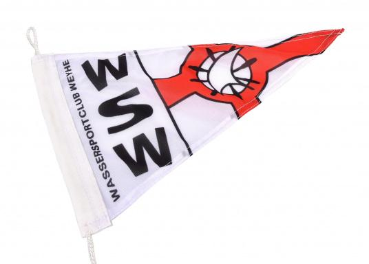 Vereinsstander, dreieckige Ausführung, desWassersportclubs Weyhe e.V. im Wieltsee (WSW).Abmessungen: ca. 40 x 25 cm.