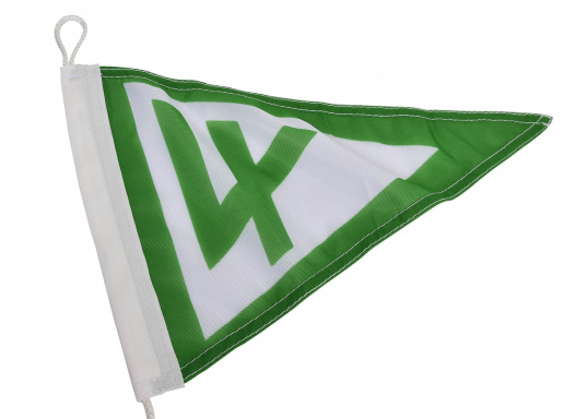 Vereinsstander, dreieckige Ausführung, desSegel-Clubs Vierlande e.V. Abmessungen: ca. 40 x 25 cm.