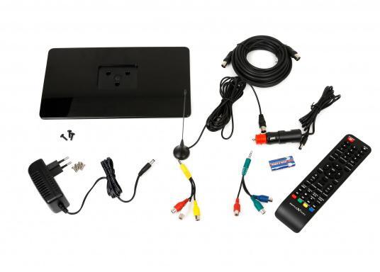 Kompakter 12V / 24V Fernseher für den vollen Fernsehspaß an Bord, im Auto oder im Caravan. Der 12V Fernseher überzeugt mit einem gestochen scharfen Bild in HD ready Qualität (1366 x 768 Pixel) und vielseitigen Empfangsmöglichkeiten. (Bild 7 von 7)