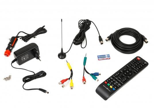 Kompakter 12V / 24V Fernseher für den vollen Fernsehspaß an Bord, im Auto oder im Caravan. Der 12V Fernseher überzeugt mit einem gestochen scharfen Bild in HD ready Qualität (1366 x 768 Pixel) und vielseitigen Empfangsmöglichkeiten. (Bild 6 von 7)