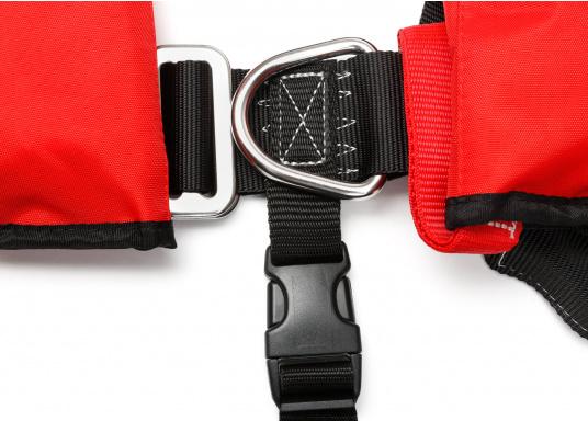 Komfortabel geschnittene Automatik-Rettungsweste mit einem Auftrieb von 180 N der Marke Marinepool. Mit großzügiger Ausstattung wie Nackenfleece, Mesh-Gewebe am Rückenteil, Schrittgurt, Harness (D-Ring) und Inspektionsfenster. (Bild 6 von 9)