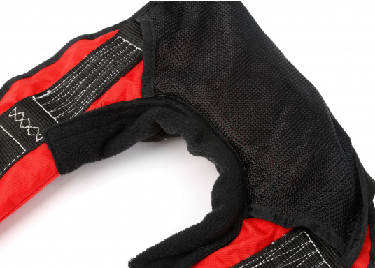 Komfortabel geschnittene Automatik-Rettungsweste mit einem Auftrieb von 180 N der Marke Marinepool. Mit großzügiger Ausstattung wie Nackenfleece, Mesh-Gewebe am Rückenteil, Schrittgurt, Harness (D-Ring) und Inspektionsfenster. (Bild 9 von 9)