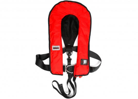 Komfortabel geschnittene Automatik-Rettungsweste mit einem Auftrieb von 180 N der Marke Marinepool. Mit großzügiger Ausstattung wie Nackenfleece, Mesh-Gewebe am Rückenteil, Schrittgurt, Harness (D-Ring) und Inspektionsfenster. (Bild 8 von 9)