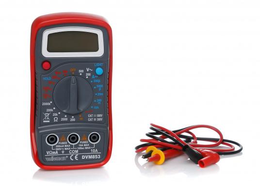 Digital Multimeter mit 19 Messbereichen, großem Display und automatischer Polaritätsanzeige. Manuelle Auswahl zwischen Spannungs-, Strom- und Widerstandsmessungen.