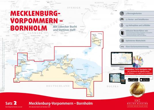Der Satz 2 der Delius Klasing Sportbootkarten enthält 3 Überseglerkarten sowie 25 Revier- und Detailkarten zur Navigation an der Küste Mecklenburg-Vorpommerns inklusive Lübecker Bucht und Stettiner Haff sowie für Bornholm.