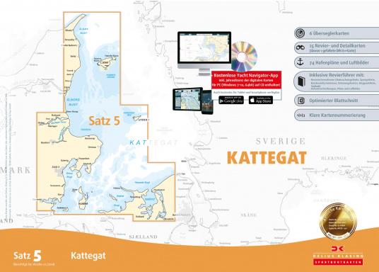 Der Satz 5 der Delius Klasing Sportbootkarten enthält 6 Überseglerkarten sowie 25 Revier- und Detailkarten zur Navigation auf dem Kattegat und an der dänischen Kattegat-Küste.