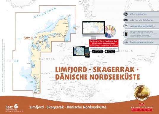Der Satz 6 der Delius Klasing Sportbootkarten enthält 4 Überseglerkarten sowie 22 Revier- und Detailkarten zur Navigation auf der dänischen Nordseeküste, dem Limfjord und Skagerrak.