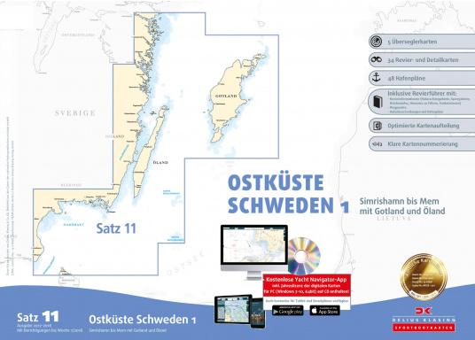 Der Satz 11 der Delius Klasing Sportbootkarten enthält 5 Überseglerkarten sowie 34 Revier- und Detailkarten zur Navigation an der schwedischen Ostküste von Simrishamn bis Mem mit Gotland und Öland.