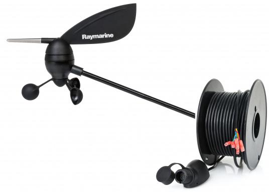 Il trasduttore vento Raymarine fornisce dati affidabili e precisi sulla direzione e sulla velocità del vento.