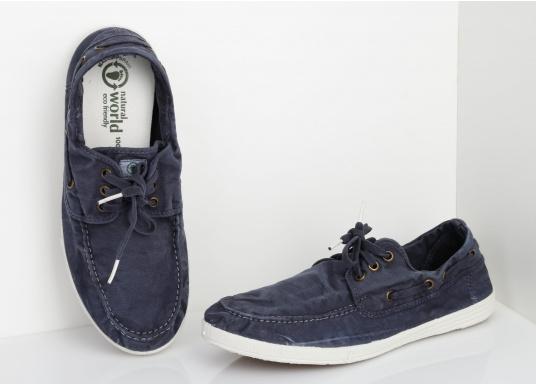 Dieser nachhaltige Mokassinsaus Bio-Baumwolle besticht mit seinem modischen Design. Basierend auf einem traditionellen Bootsschuh mit 3-Loch-Schnürung und einer flachen Zierkordel auf der Außenseite ist dieser Schuh der perfekte Begleiter für wärmere Tage. (Bild 7 von 11)