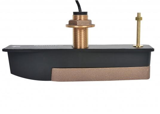 Der optionale Bronze-Durchbruchgeber CPT-120 dient der Darstellung von Unterwasserzielen und ermöglicht eine Erstellung von fotorealistischen DownVision Sonarbildern. Der Geber liefert außerdem Daten für Tiefe und Temperatur. (Bild 3 von 6)
