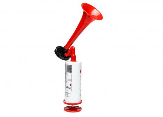 Das manuelle Signalhorn eignet sich optimal für die Signalgebung auf Schiffen bei Nebel oder für sportliche Veranstaltungen etc. Durch die Pumpenfunktion erfolgt die Signalgebung manuell und ohne Gasbetrieb. (Bild 2 von 2)