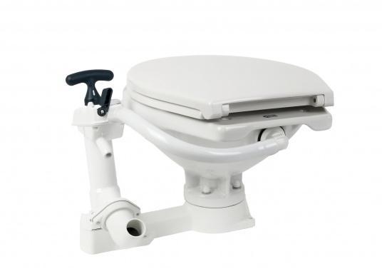 Das neue JABSCO Bord WC NEW STYLE mit manueller Pumpe steht für noch mehr Komfort. Neben dem großen Komfortbecken verfügt die Toilette über einen Soft Close-Deckel. Keramikbecken, massiver Sitz und Deckel, Unterteil und Pumpe bestehen aus weißem Duroplast-Kunststoff. (Bild 3 von 9)