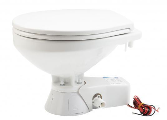 Die QUIET FLUSH Toilette zeichnet sich durch ihren geräuscharmen Betrieb aus und bietet die Möglichkeit, den Spülwasserstand im Toilettenbecken zu regulieren.Neben dem großen Komfortbecken verfügt die Toilette über einen Soft Close-Deckel. Betriebsspannung: 12 V.